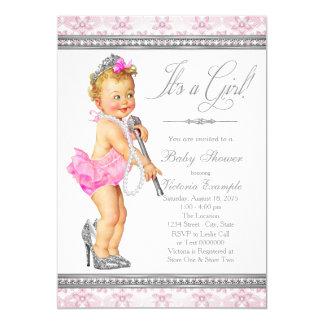 Diamonds Pearls High Heel Little Lady Baby Shower Card