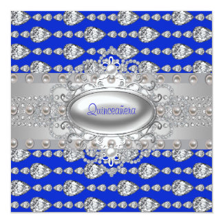 Diamonds Pearls Royal Blue Birthday Party Card