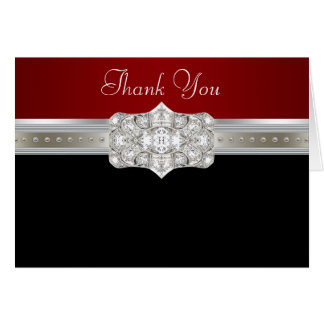 Diamonds Pearls Ruby Red Black Thank You Cards