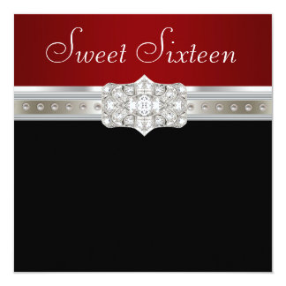 Diamonds Pearls Ruby Red Sweet Sixteen Birthday Card