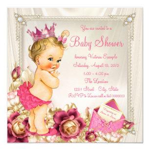 Diamonds Pearls Satin Pink Princess Baby Shower Invitation