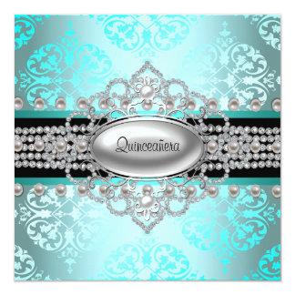 "Diamonds Pearls Teal Blue Quinceanera 5.25"" Square Invitation Card"