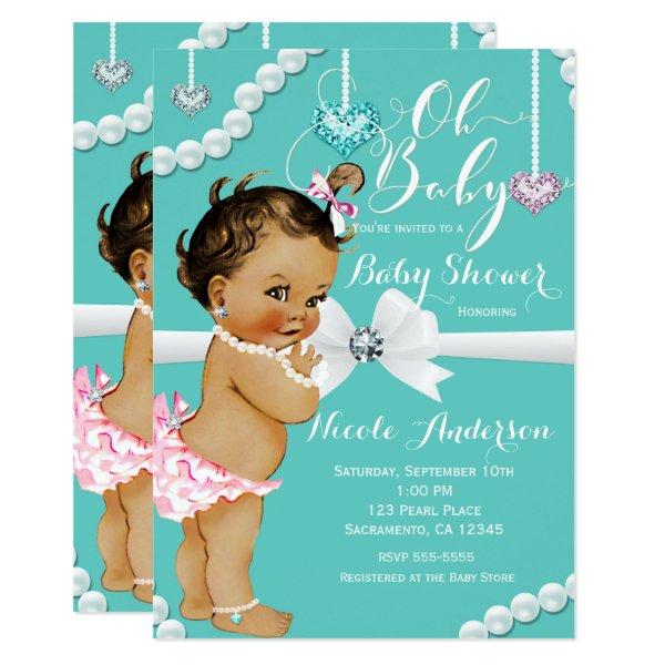 Diamonds & Pearls Vintage Baby Girl Shower Card