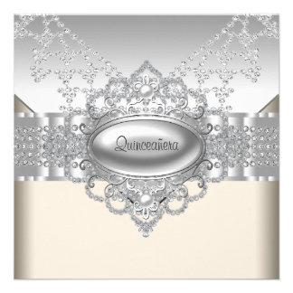 Diamonds Pearls White Quinceanera Invitations