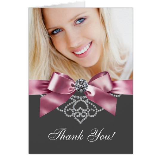Diamonds Pink and Black Photo Thank You Cards