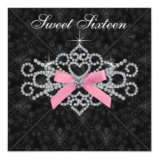 Diamonds Pink Black Damask Sweet 16 Birthday Party Card
