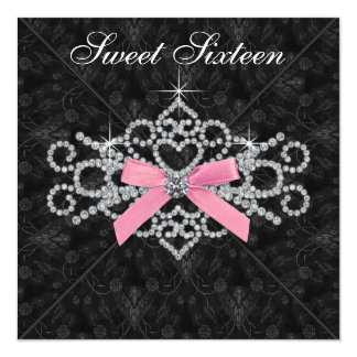 Diamonds Pink Black Damask Sweet 16 Birthday Party Card