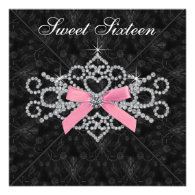 Diamonds Pink Black Damask Sweet 16 Birthday Party Personalized Invites