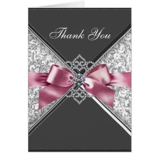 Diamonds Pink Black Damask Thank You Cards