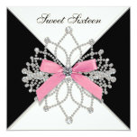 Diamonds Pink Black Sweet Sixteen Birthday Party Custom Announcements