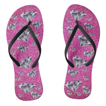 Beach Themed Diamonds Pink Glitter Bling Flip Flops