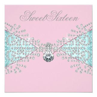 Diamonds Pink Teal Blue Sweet Sixteen Birthday Card