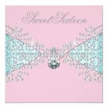 Diamonds Pink Teal Blue Sweet Sixteen Birthday Personalized Invitation