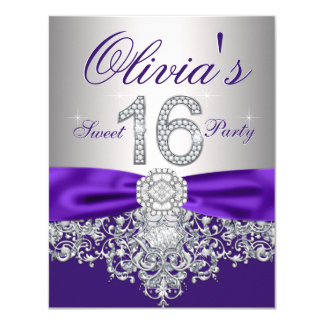 "Diamonds Purple and Silver Sweet 16 Party 4.25"" X 5.5"" Invitation Card"