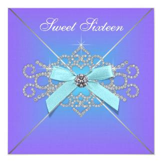 Diamonds Purple and Teal Blue Sweet 16 Birthday Card