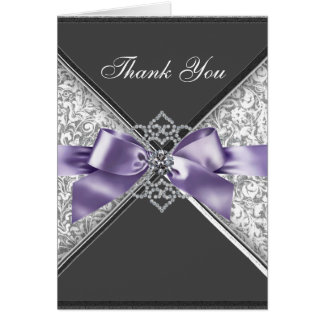 Diamonds Purple Black Damask Thank You Cards