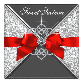 Diamonds Red and Black Sweet 16 Birthday Party Card