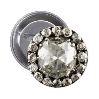 Diamonds Rhinestone Vintage Costume Jewelry Brooch Button