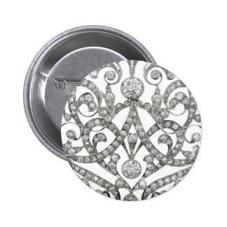 Diamonds Rhinestone Vintage Costume Jewelry Brooch Pinback Button