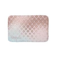 Diamonds Rose Gold Foil and Powder Blue ID400 Bathroom Mat
