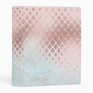 Diamonds Rose Gold Foil and Powder Blue ID400 Mini Binder
