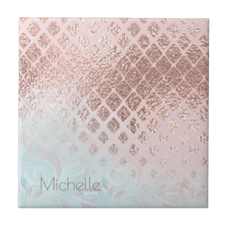 Diamonds Rose Gold Foil and Powder Blue ID400 Tile