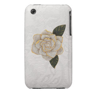 Diamonds Rose on White Paisley Lace iPhone 3 Cover