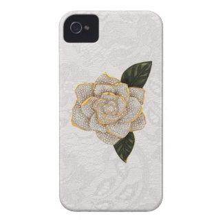 Diamonds Rose on White Paisley Lace Case-Mate iPhone 4 Case