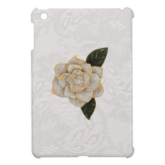Diamonds Rose on White Paisley Lace iPad Mini Covers