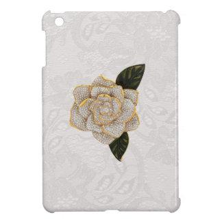 Diamonds Rose on White Paisley Lace iPad Mini Cases