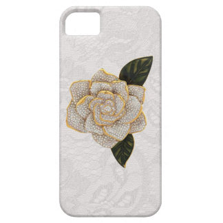 Diamonds Rose on White Paisley Lace iPhone SE/5/5s Case