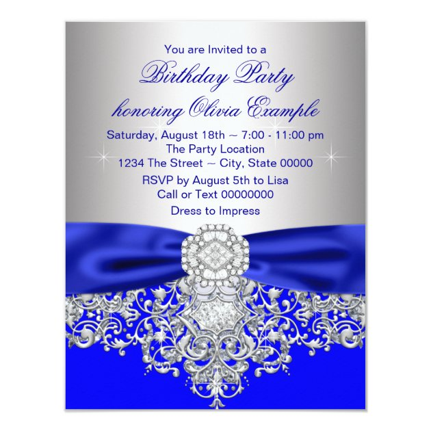 Diamonds Royal Blue and Silver Sweet 16 Party Card | Zazzle