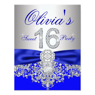 Diamonds Royal Blue and Silver Sweet 16 Party Card