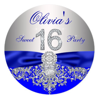 Diamonds Royal Blue and Silver Sweet 16 Party 5.25x5.25 Square Paper Invitation Card