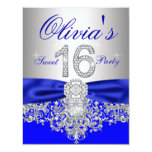 Diamonds Royal Blue and Silver Sweet 16 Party Custom Announcements