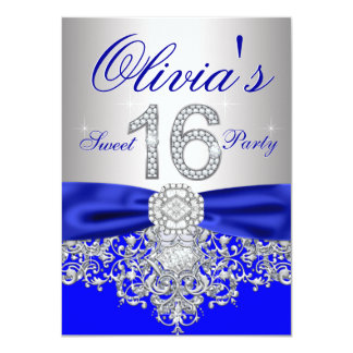 Diamonds Royal Blue and Silver Sweet 16 Party 4.5x6.25 Paper Invitation Card