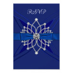 Diamonds Royal Blue Sweet Sixteen Birthday RSVP Custom Invitations