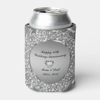 Diamonds & Silver 10th Wedding Anniversary Can Cooler