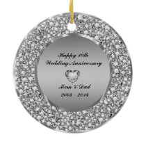 Diamonds & Silver 10th Wedding Anniversary Ceramic Ornament
