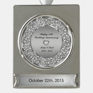 Diamonds & Silver 10th Wedding Anniversary Silver Plated Banner Ornament