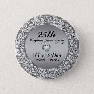 Diamonds & Silver 25th Wedding Anniversary 2 Button