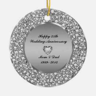 25th wedding anniversary ornament. diamonds \u0026amp; silver 25th wedding anniversary ceramic ornament 5