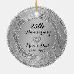 Diamonds & Silver 25th Wedding Anniversary Ceramic Ornament