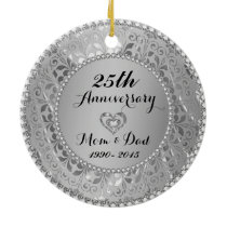 Diamonds & Silver 25th Wedding Anniversary Ceramic Ornament