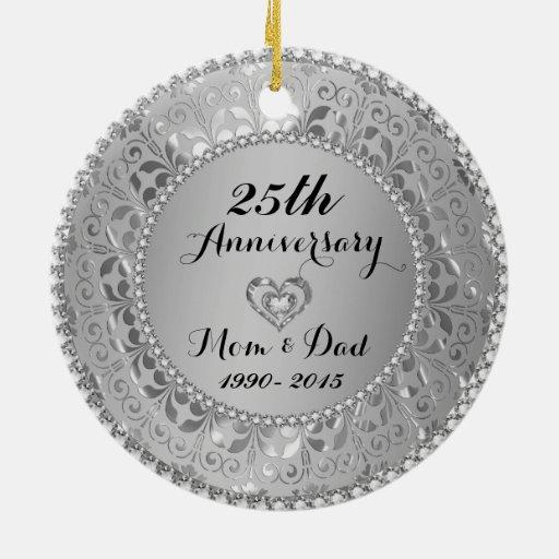 Diamonds Silver 25th Wedding Anniversary Ceramic Ornament Zazzle