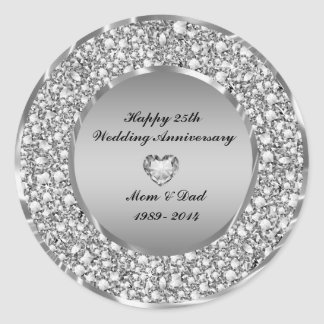 diamonds u0026amp silver 25th wedding anniversary classic round sticker - 25th Wedding Anniversary Gifts
