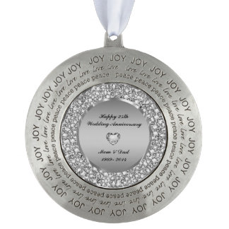 Diamonds & Silver 25th Wedding Anniversary Round Pewter Christmas Ornament