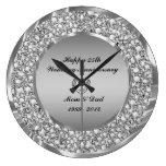 Diamonds & Silver 25th Wedding Anniversary Large Clock