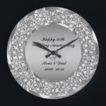 "Diamonds & Silver 25th Wedding Anniversary Large Clock<br><div class=""desc"">Encrusted diamonds and silver( image not real or fake diamonds) 25th wedding anniversary customizable clock.</div>"