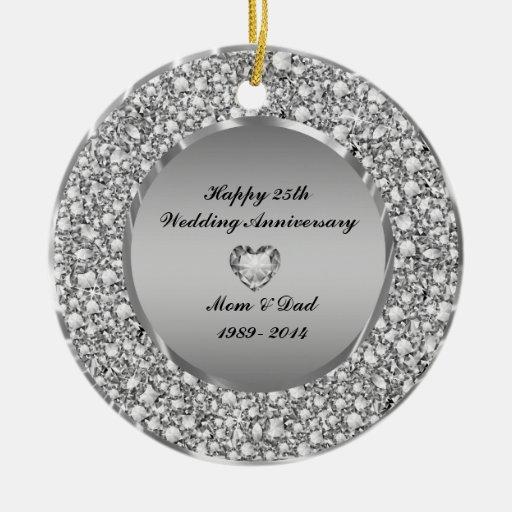 Diamonds Silver 25th Wedding Anniversary Christmas Tree Ornament Zazzle